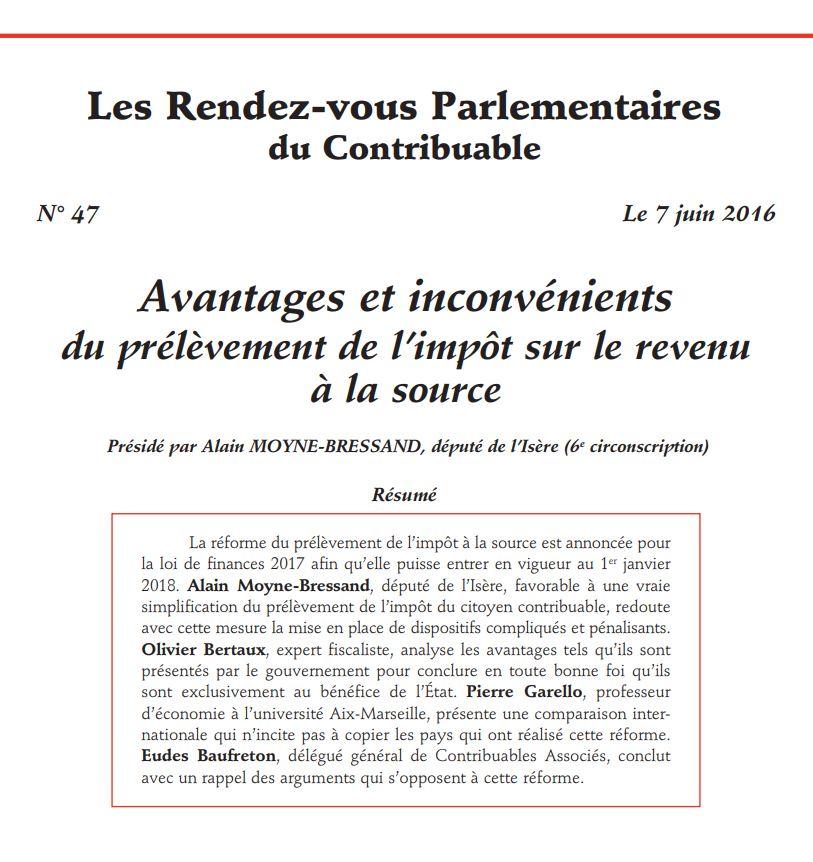 Les Rendez-Vous Parlementaires du Contribuable n°47