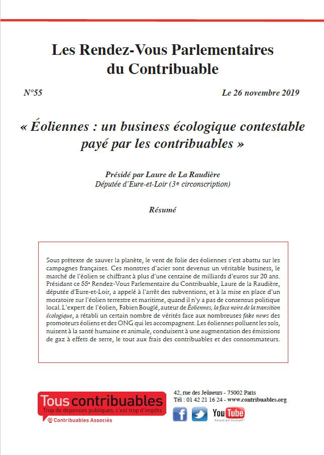 Les Rendez-vous Parlementaires du Contribuable n°55 «Éoliennes : un business écologique contestable payé par les contribuables»
