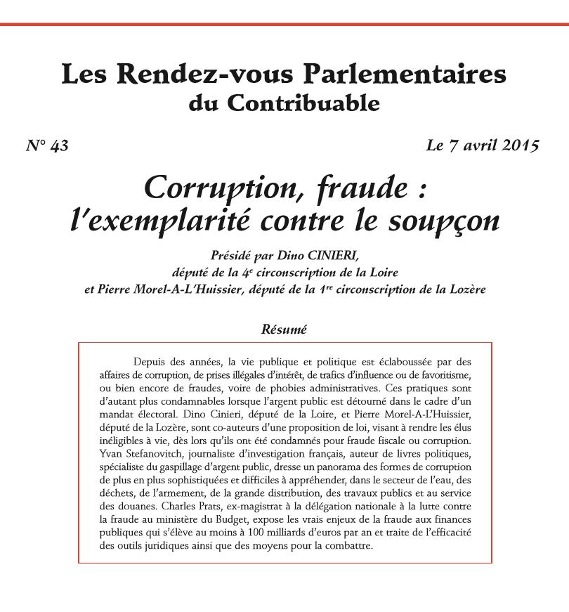 Les Rendez-vous Parlementaires du Contribuable n°43