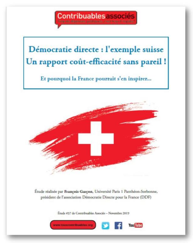 Etude n°37 : Démocratie directe : l'exemple suisse, Un rapport coût-efficacité sans pareil !