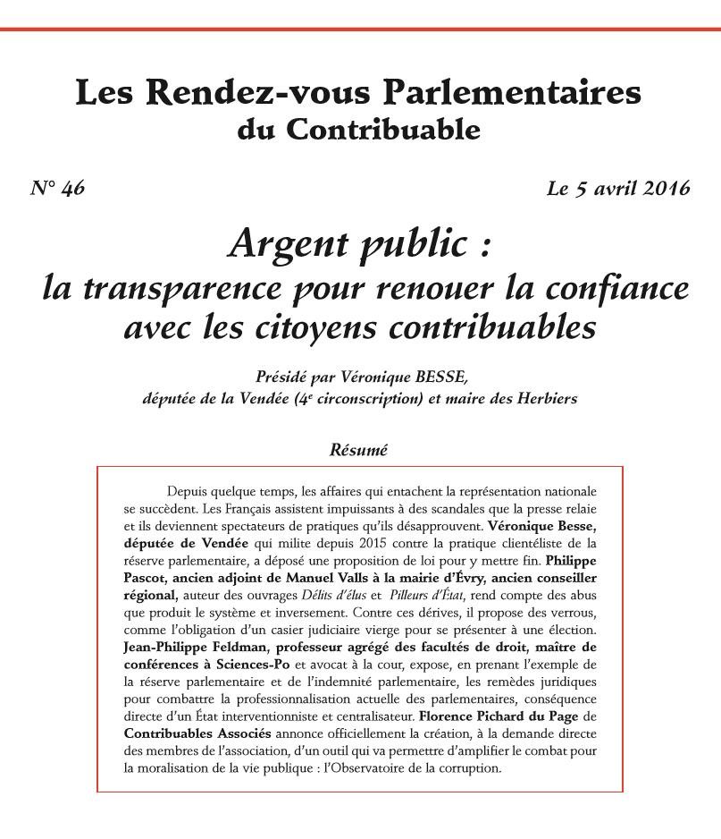 Les Rendez-vous Parlementaires du Contribuable n°46