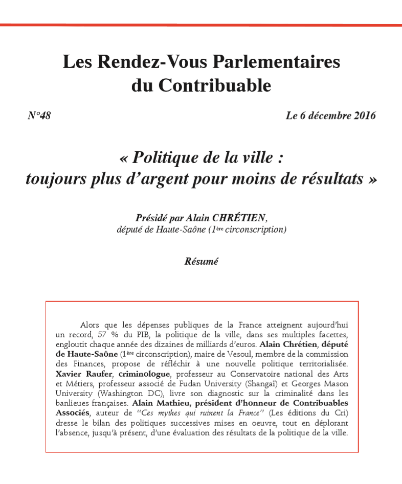 Les Rendez-Vous Parlementaires du Contribuable n°48